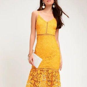 Lulu's Yellow Taliah Golden Lace Night Out Dress